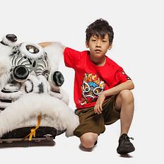 HEA原创设计中国风小狮子印花男女童同款亲子短袖T恤