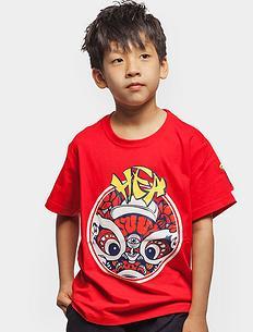 原创设计中国风狮子头印花男女童同款亲子短袖T恤