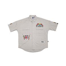 HEA原创设计形式元素狮子头刺绣男女同款短袖衬衫