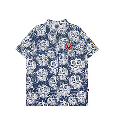 HEA原创设计醒狮元素满版迷彩男女同款休闲短袖衬衫
