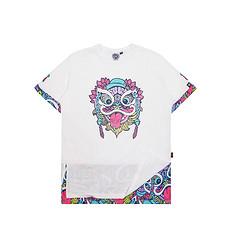 HEA原创设计醒狮元素男女同款撞色拼接短袖T恤