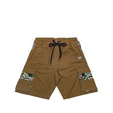 HEA原创潮牌设计醒狮元素拼接迷彩休闲短裤