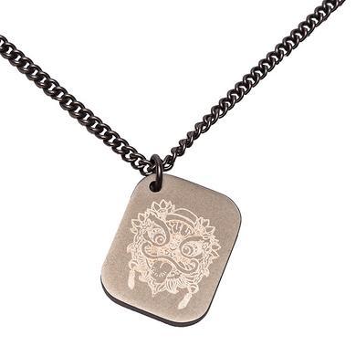 潮牌原创设计中国风复古狮子铭牌项链