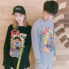 HEA【秋】潮牌原创中国风醒狮元素印花长袖款T恤