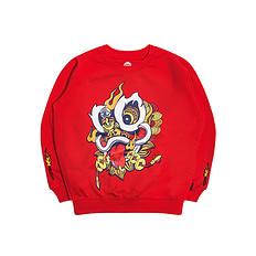 HEA【童装】潮牌原创中国风醒狮元素狮子头印花男女童同款长袖套头卫衣