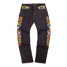 HEA潮牌原创中国风传统醒狮元素牛仔裤