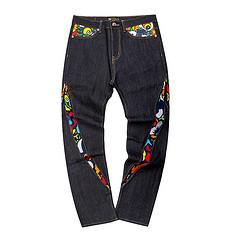 HEA潮牌原创中国传统醒狮元素男女同款牛仔裤