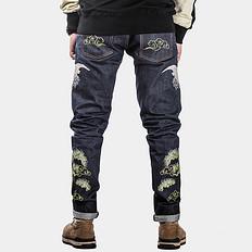 银鳞堂中国风赤耳丹宁牛仔裤