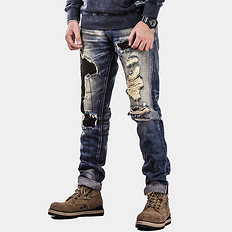 HE75 DENIM补丁做旧赤耳丹宁牛仔裤